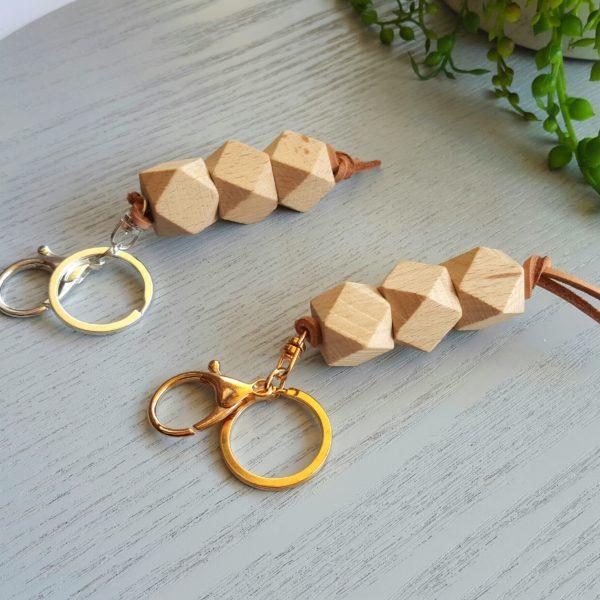 Beech Wood & Leather Key Rings