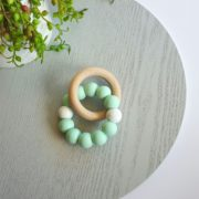 Bay Silicone and Beech Ring Teether - Mint