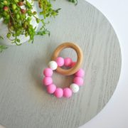 Bay Silicone and Beech Ring Teether - Pink