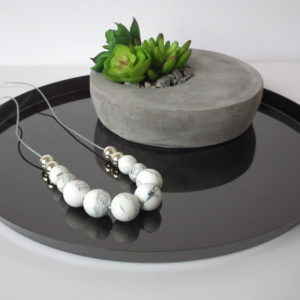 Bangalow Silicone Necklace - Marble & Silver