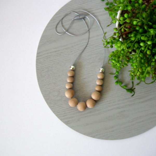 Wategos Beech Wood & Silver Necklace