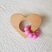 Lovemore Heart Teether - Bright Pink